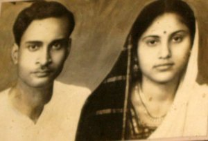 "My Dadubhai and Didun after their marriage. Probably late 1950's. The photograph was published in ""The Pioneer"" newspaper, Lucknow edition."